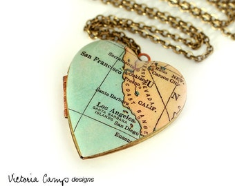 California Map Necklace, Large Vintage Heart Locket,  Antique Map Jewelry, Los Angeles, San Francisco, San Diego, Oakland