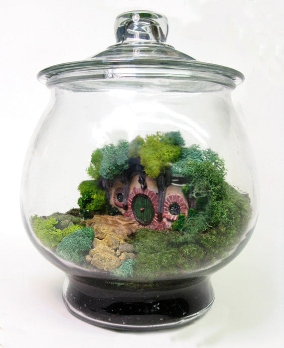 RESERVED Movie Miniatures: Bag End Hobbit Terrarium, Lord of the Rings