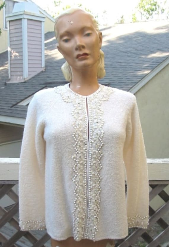 Clearance 1960's Vintage Beaded Cardigan Sweater with Rhinestones Medium 35 Bust