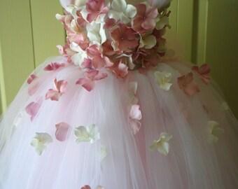 Flower Girl Dress, Tutu Dress, Blush Pink Dress, Ivory Dress, Flower Top, Photo Prop