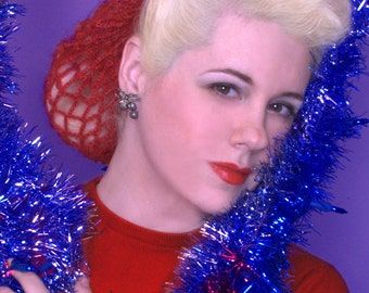 Hair Snood The Vintage Bunny in Cranberry Red Mohair Crocheted from 1940's Design Retro Pinup