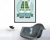 Kitchen art poster Mid Century Modern retro print Stig Lindberg teapot coffee office - Make Tea Not War 2 - 50 x 70 cm