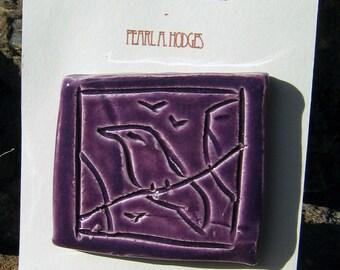 Smal Handmade Ceramic Tile - Purple Birds on a Wire