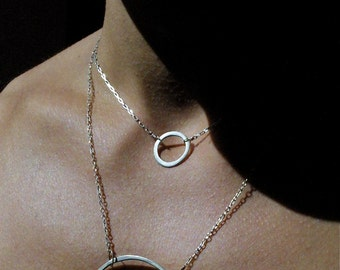 Silver Solitaire Hoop Necklace - Handmade Sterling and Fine Silver Jewelry - Choker
