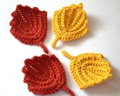 Autumn decorations 4 leaves yellow red brown crochet Thanksgiving Woodland Wedding decor favor gift fall nursery garland Christmas