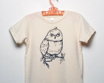 Organic Owl Toddler Tee -Natural