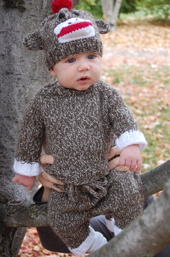 Knitting Patterns For Sock Monkey Clothes : Hand Knit Sock Monkey Costume by knittybutton on Etsy