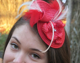 Ready to ship today!cRed Fascinator Wedding hat  red mini hat, DANICA POLKA DOT