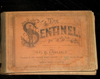 Antique ornate The Sentinel C.E. Leslie photography lithography music advertisements aged paper distressed book collage altered art supplies