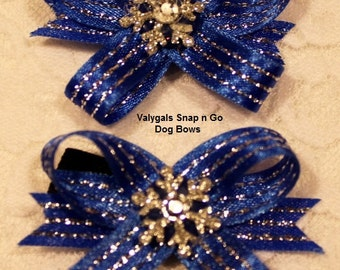 Blue & Silver Snowflake Snap N Go Dog Bows: Set of 2