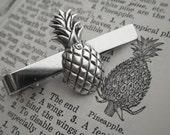 Silver Pineapple Tie Clip Vintage Inspired Victorian Steampunk Tropical Tiki Men's Steampunk Fashion Accessories Handcrafted Men's Tie Clip