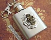 Robot Flask Keychain Miniature 1 Oz Size Steampunk Flask Mini Flask Men's Gifts