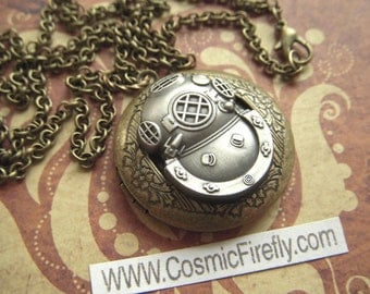 Steampunk Locket Necklace Diving Helmet Locket Round Brass & Pewter Primitive Nautical Locket Jewelry