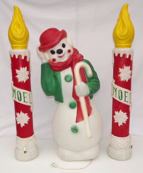 Vintage Empire Plastic Blow-Mold Snowman & Candles-Christmas