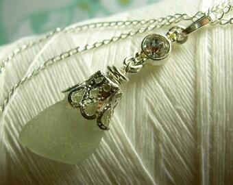 Beach Wedding - white sea glass necklace / seaglass necklace / sea glass necklace / wedding jewelry / beach jewelry / beach necklace