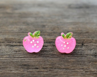 Sparkly Pink Apple Polka Dot Earrings
