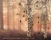 Nature Photography, Surreal Sparkle Fairy Lights Fantasy Woodland, Sparkling Fairytale Trees Birds, Autumn Fall Nature Fine Art Photography