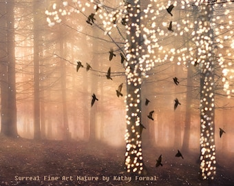 Nature Photography, Surreal Sparkling Twinkling Fantasy Fairy Lights Woodlands, Fairytale Trees and Birds, Fantasy Autumn Nature Woodlands
