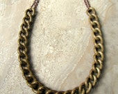 Chain Necklace - Brown and Taupe Chunky Chain Necklace - Stellar Statement Necklace No. 5