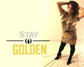gold body-con dress