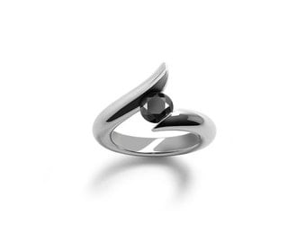 Black Diamond Tension Set Ring in Stainless Steel