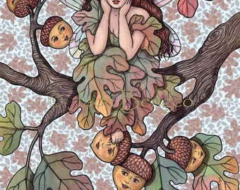 DAYDREAM-Autumn fairy sits on tree branch with acorn ladies limited edition art print