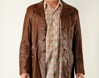 Vintage Mens Leather Coat Brown Jacket Western - Medium 70s
