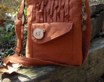 Kenya Shoulder Bag, 100 % Natural Linen Tote, 6 Large Pockets, Handmade Wood Buttons