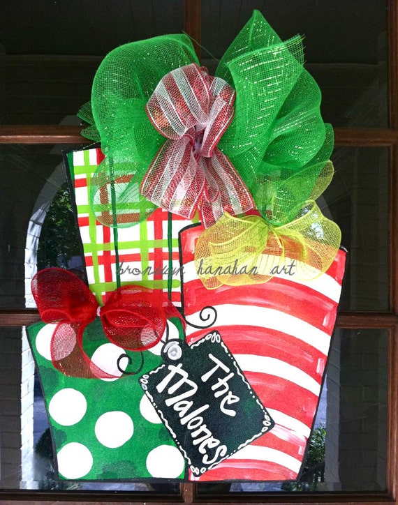 Red and Green Presents Door Hanger - Bronwyn Hanahan Original
