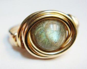 Gold Labradorite Ring   Labradorite 14K Gold Filled Ring   14K Gold Filled Ring   Wire Wrapped Ring    Labradorite Jewelry