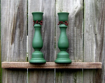 Candle Sticks, Taper Holders, Pair, Green, Red Berries, Set of Two, Rustic Home Decor, Primitive Candle Holder, Hand Painted, Wood