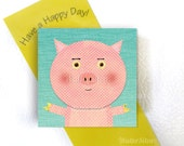 Pink Pig Magnet - Piggy Refrigerator Magnet for displaying Kids Art and Pictures - Farm Animal Theme Magnet - Stocking Stuffer