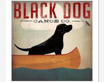 BLACK DOG Canoe Ride original illustration Print Signed