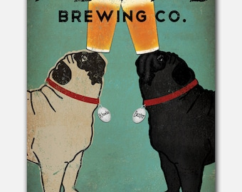 Pugs CUSTOM PERSONALIZED Black Fawn Pug & Pug Pug dog Brewing Company Beer Sign Gallery Wrapped Canvas Wall Art -  Ready-to-Hang