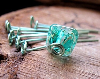 Turquoise Head Pins 1.5 inch - Enameled Swirl Headpins 20 gauge - Fancy Jewelry Supplies - Artisan Supplies - Top Spiral Eye pins - Artisan