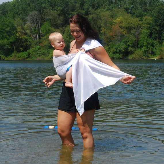 Ring Sling Baby Carrier Water Mesh Bright White For Pools