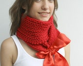 Red Scarf Shawl Neckwarmer  with Red Ribbon gift for women girls Christmas gift under USD50