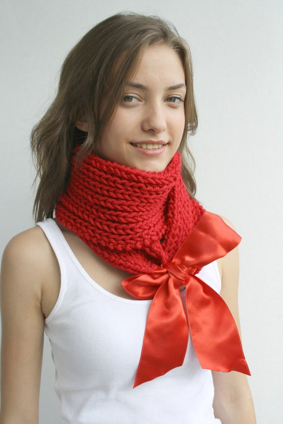 Red Knit Scarf, Shawl, Knit Neckwarmer  with Red Ribbon, gift for women, girls, Mother's day gift under USD50