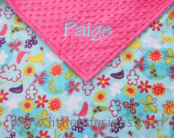 Baby Blanket Personalized - Aqua Birds and Flowers with Hot Pink Minky - Girl Baby Blanket