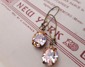 Blush Peach Swarovski Crystal Earrings Bridesmaid Pale Pink Retro Rhinestone