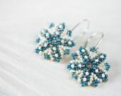 Beaded snowflake earrings, Starburst, winter ice blue earrings, beadwork, beadwoven seed bead snowflake, lightweight, small, cute earrings