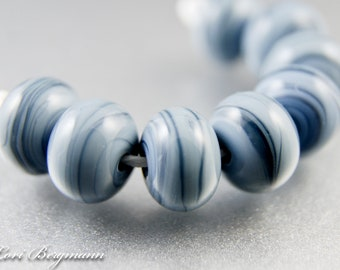 Slate Blue Lampwork Spacer Beads, Blue Grey Handmade Glass Jewelry Supplies