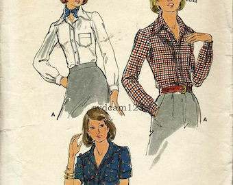 Vintage 1970s Button Front Blouse Pattern Cuffed Sleeves Patch Pocket 1975 Butterick 3815 Bust 31.5 UNCUT