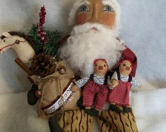 Primitive doll pattern, 22 inch Santa with Annie dolls and horse by Dumplinragamuffin,HAFAIR, OFG Team