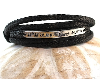 5 Turns Spectra bracelet, 5mm wide silver plate, Personnalized with longitude and latitude