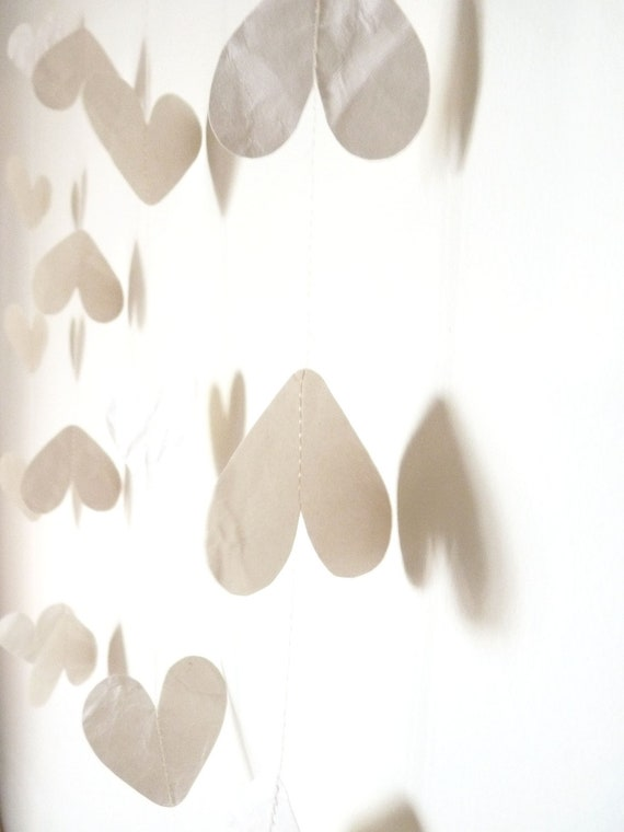 SALE - Recycled Cream Paper Heart Garland Decoration / New Years Party Decoration / First Anniversary Gift (Approx 2.5 meters / 8.2 feet)