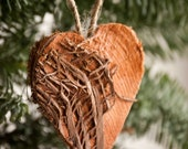 Rustic hearts ornaments Christmas tree decoration Wedding decoration Natural Christmas ornaments Christmas hearts ornaments