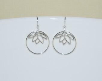 Silver lotus earrings - sterling silver lotus flower earrings - silver circle earrings - hoop - yoga jewelry - modern simple jewelry - Anouk