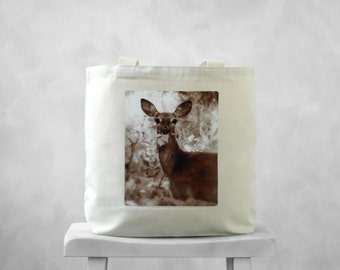 Oh, Deer  - Natural or Black Canvas Bag - Carryall Tote - School Bag - Woodland