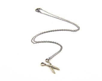 Two for One Sale....Scissors Necklace - Silver White Bronze Necklace
